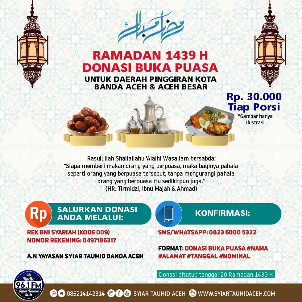 Program Takjil Gratis Radio Syiar Tauhid Aceh adalah Program Rutin Ramadan Berbagi Makanan Buka Puasa Untuk Kaum Muslimin Bekerjasama Dengan Muhsinin Pendengar Radio Syiar Tauhid Aceh